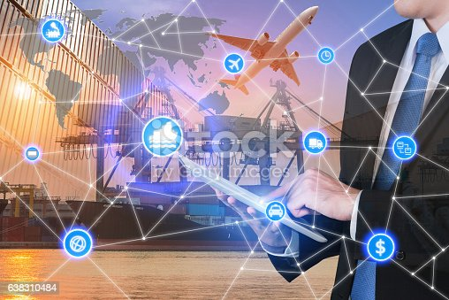 istock Global business connection technology interface global partner c 638310484