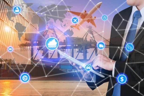 Global business connection technology interface global partner c - foto de stock
