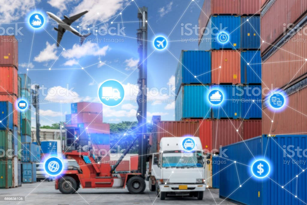 Global business connection technology interface global partner connection of Container Cargo freight truck for logistic import export background. Business logistics concept , internet of things stock photo