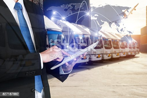 638310484istockphoto Global business connection technology interface global partner connection of Container Cargo freight ship for logistic import export background. Business logistics concept , internet of things 827187882