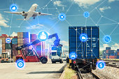 Global business connection technology interface global partner connection of Container Cargo freight train for logistic import export background. Business logistics concept , internet of things