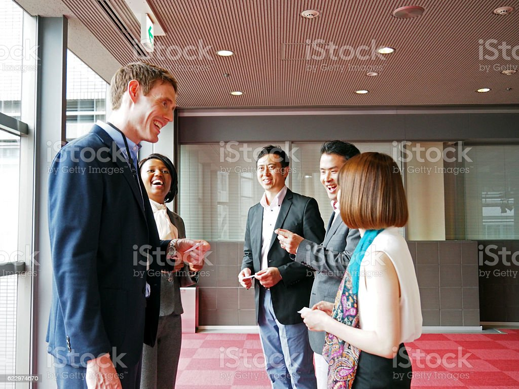 Global Business, Exchanging Business Cards stock photo