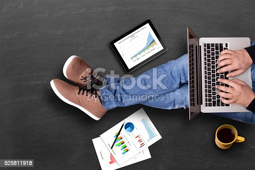 525811918 istock photo Global business growth graph analyzing with laptop 525811918