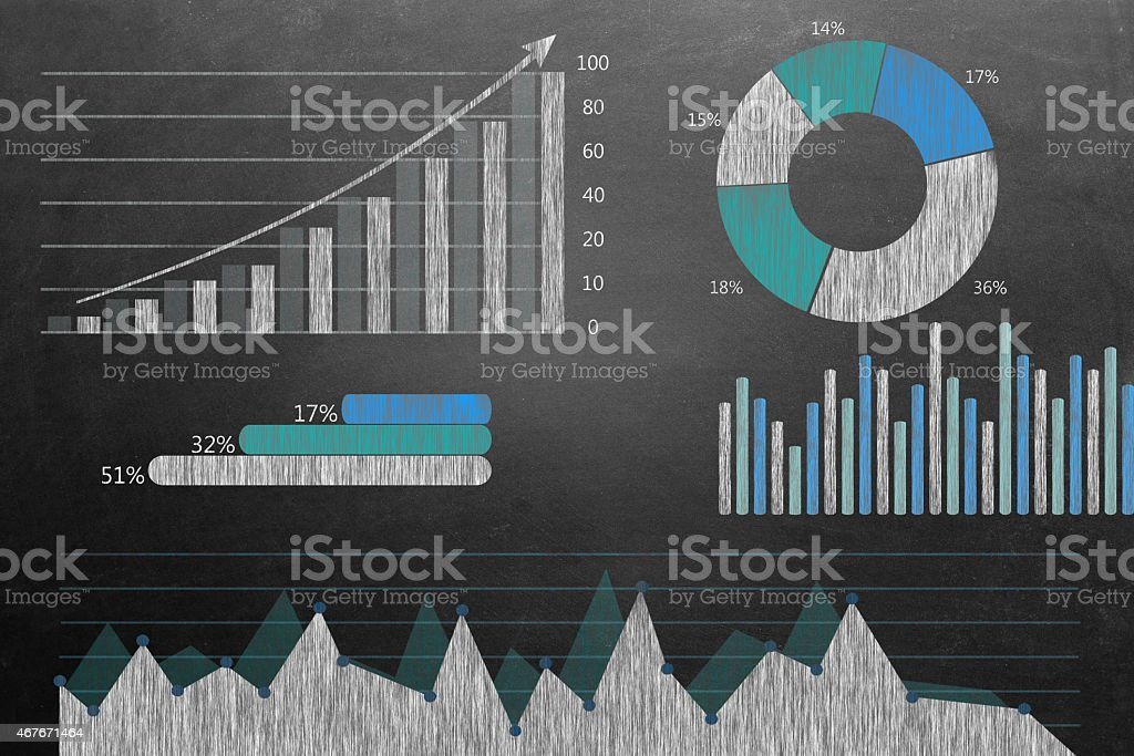 Global business growth Infographic drawn on blackboard stock photo
