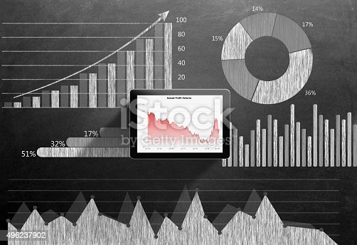 istock Global business growth Infographic drawn on blackboard 496237902