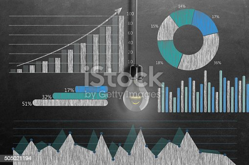istock Global business growth Infographic drawn on blackboard 505021194