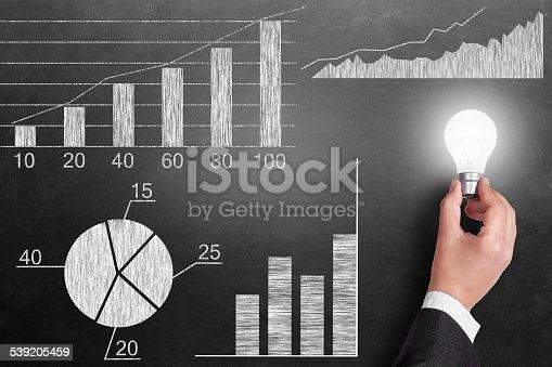 istock Global business growth Infographic drawn on blackboard 539205459