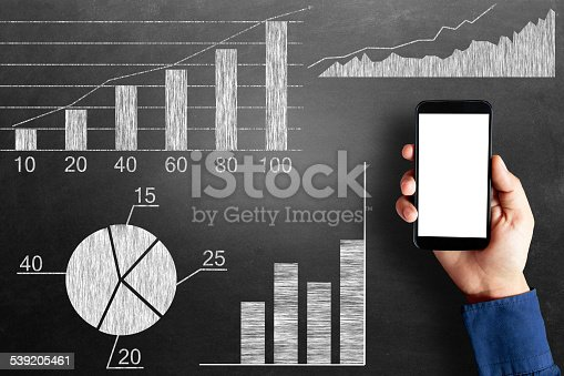 istock Global business growth infographic drawn on blackboard 539205461