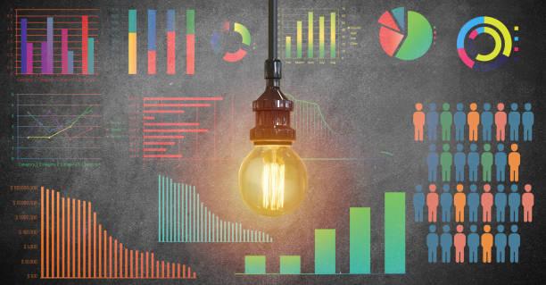 global business growth infographic drawn on blackboard - rapporto finanziario foto e immagini stock