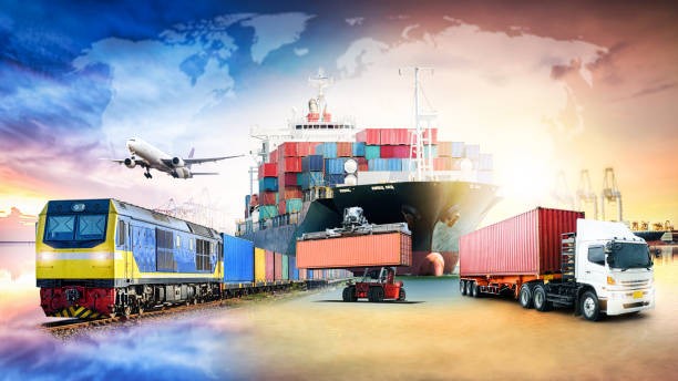 global business logistics import export background and container cargo freight ship transport concept - logistica foto e immagini stock