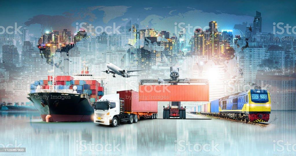 Globale Logistik Import Export Hintergrund und Container Cargo Fracht Schiff Transport Geschäftskonzept - Lizenzfrei Angebot und Nachfrage Stock-Foto