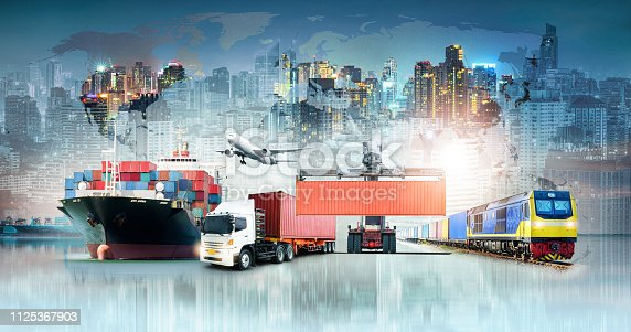 istock Global business logistics import export background and container cargo freight ship transport concept 1125367903
