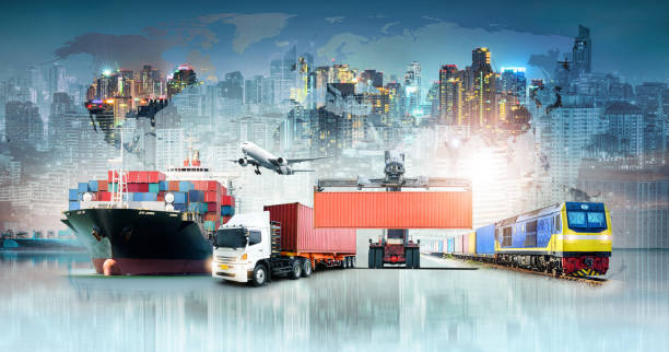 Global business logistics import export background and container cargo freight ship transport concept stock photo