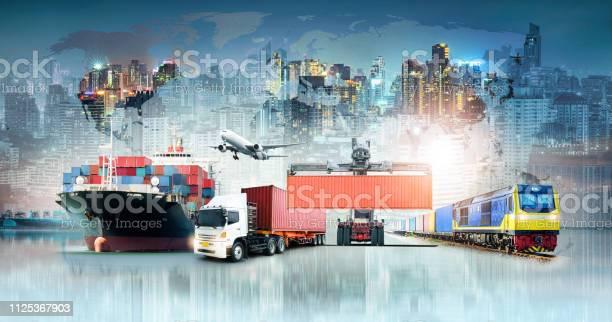 Globale Logistik Import Export Hintergrund Und Container Cargo Fracht Schiff Transport Geschäftskonzept Stockfoto und mehr Bilder von Angebot und Nachfrage