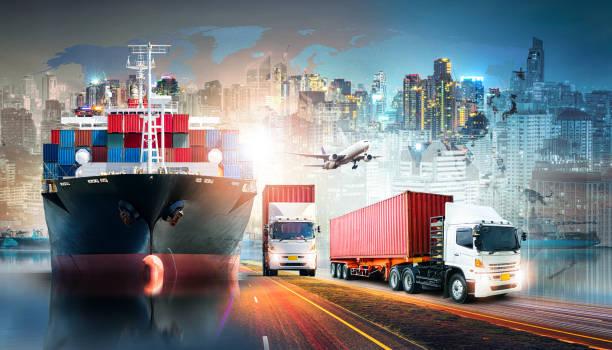 global business logistics import export background and container cargo freight ship transport concept - caricare attività foto e immagini stock