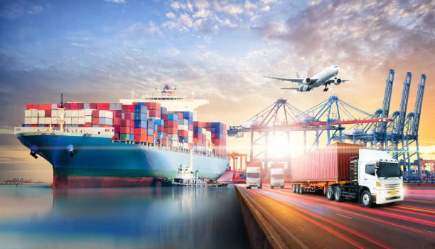 globale business-logistik import-export-hintergrund und container-frachtfrachtschiff-transportkonzept - internationale geschäftswelt stock-fotos und bilder