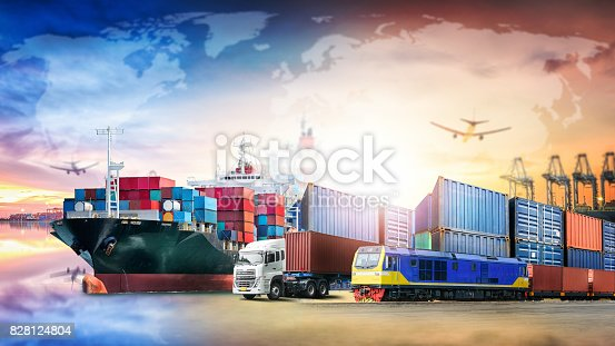 istock Global business logistics import export background and container cargo transport concept 828124804