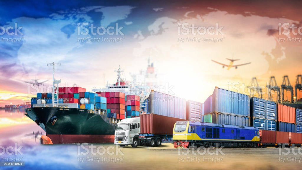 Globala logistik import export bakgrund och container Last transport affärsidé bildbanksfoto