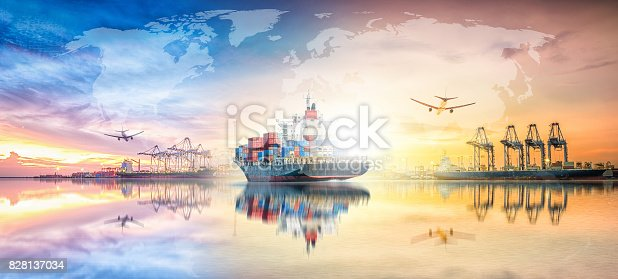693774520 istock photo Global business logistics import export concept and transport industry of container cargo freight ship at sunset sky 828137034