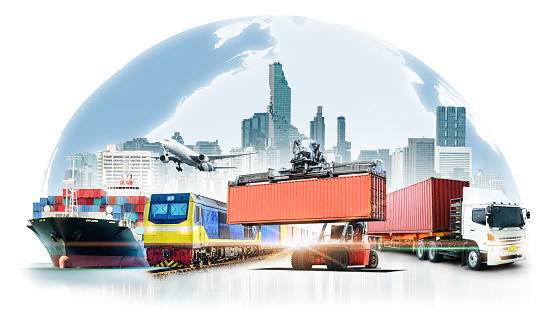 Global business logistics import export on white background and container cargo freight ship transport concept
