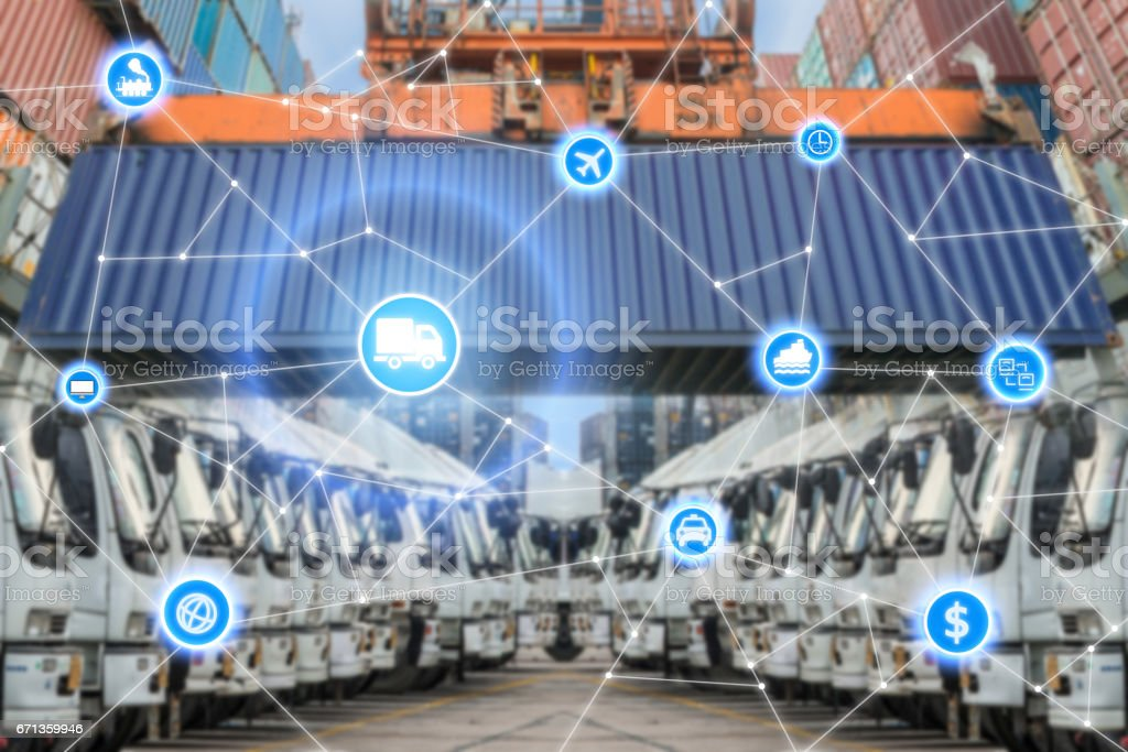 Global business logistics system connection technology interface global partner connection stock photo