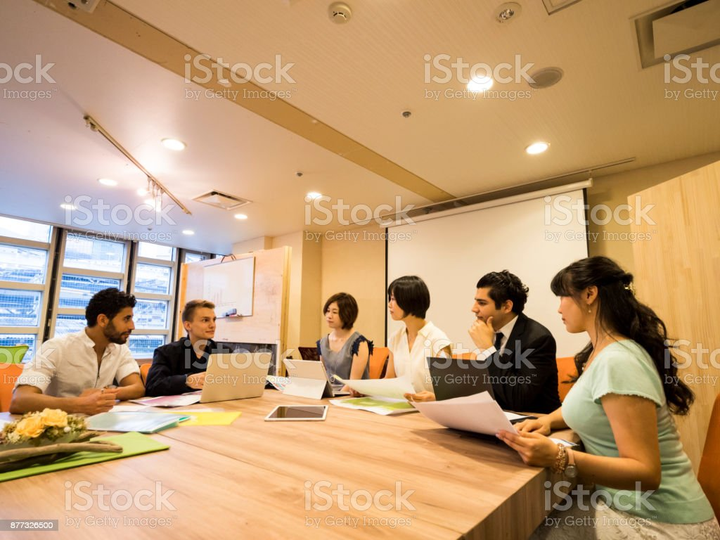 Global business meeting stock photo