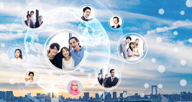グローバル ビジネス ネットワークの概念。多様性。 - 地球 日本 ストックフォトと画像