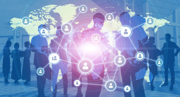 Global business network concept. Group of businessperson. stock photo