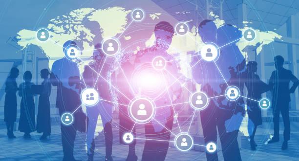 Globales Business-Netzwerk-Konzept. Gruppe von Geschäftsleuten. – Foto
