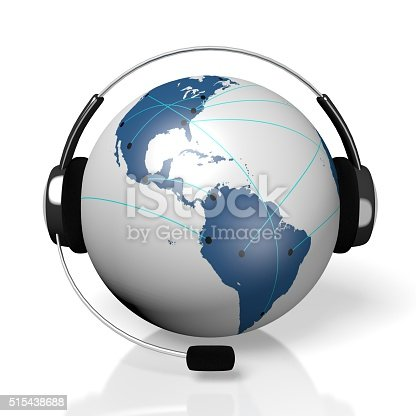 istock 3D global call centre - headset and connection concept 515438688