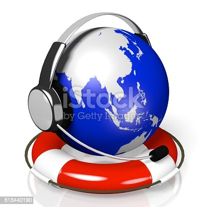 538675410istockphoto 3D global call centre - headset and rescue wheel concept 515440190