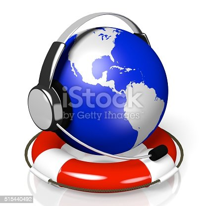 istock 3D global call centre - headset and rescue wheel concept 515440492