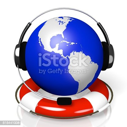 istock 3D global call centre - headset and rescue wheel concept 515441008