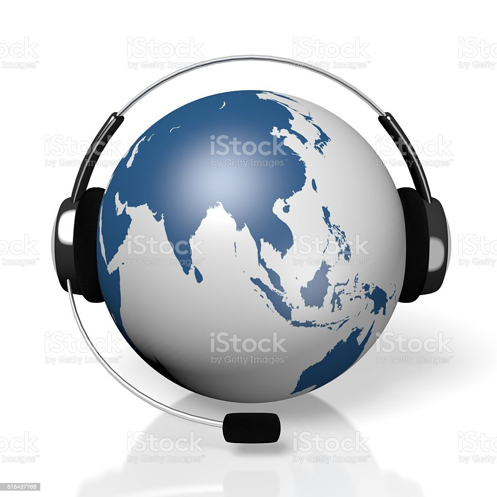3d global call centre headset concept royalty free stock photo