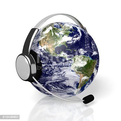 istock 3D global call centre - headset concept 515438902
