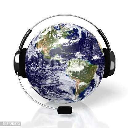 istock 3D global call centre - headset concept 515439620