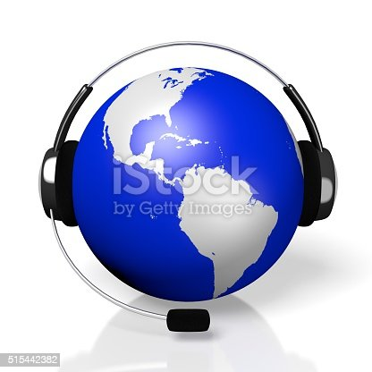 istock 3D global call centre - headset concept 515442382