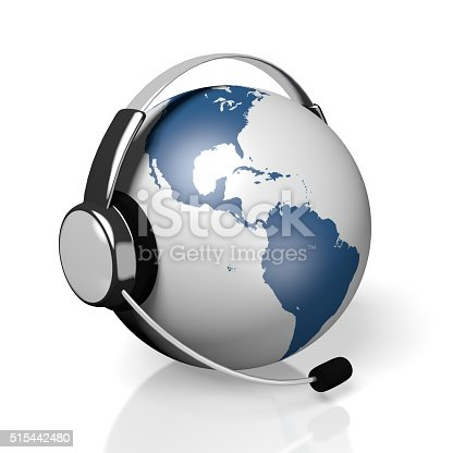 istock 3D global call centre - headset concept 515442480