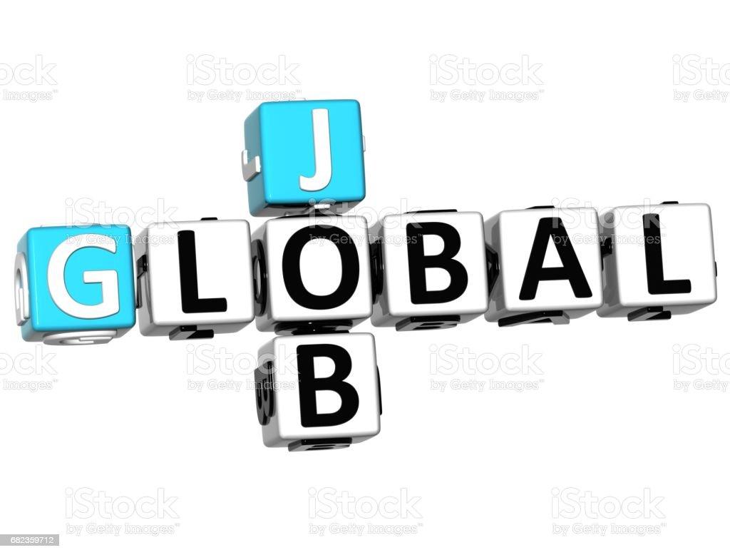 3D Global Cloud Job Crossword cube words zbiór zdjęć royalty-free