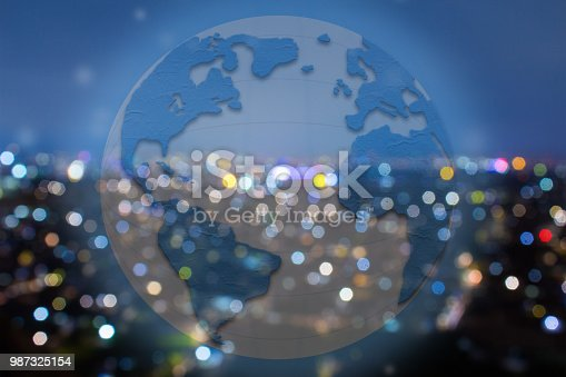 istock Global commerce conceptual earth for business and finance concept.  Open template for connected earth and communications. 987325154