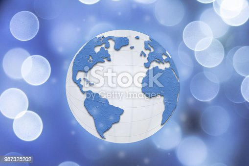 istock Global commerce conceptual earth for business and finance concept.  Open template for connected earth and communications. 987325202