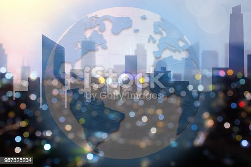istock Global commerce conceptual earth for business and finance concept.  Open template for connected earth and communications. 987325234