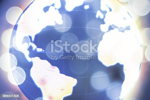 istock Global commerce conceptual earth for business and finance concept.  Open template for connected earth and communications. 988331306