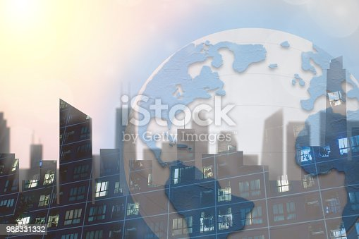 istock Global commerce conceptual earth for business and finance concept.  Open template for connected earth and communications. 988331332
