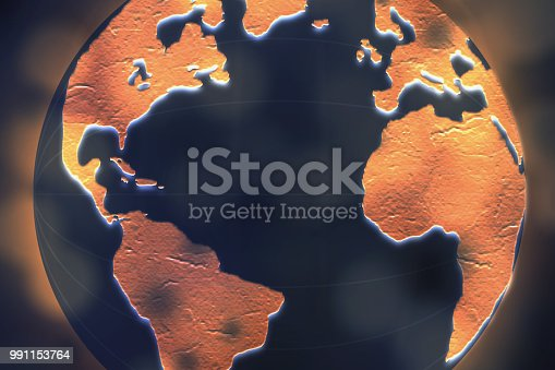 istock Global commerce conceptual earth for business and finance concept.  Open template for connected earth and communications. 991153764