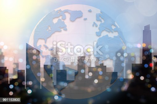 istock Global commerce conceptual earth for business and finance concept.  Open template for connected earth and communications. 991153800