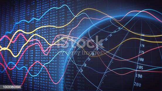Global commerce data analysis line chart with spreadsheet