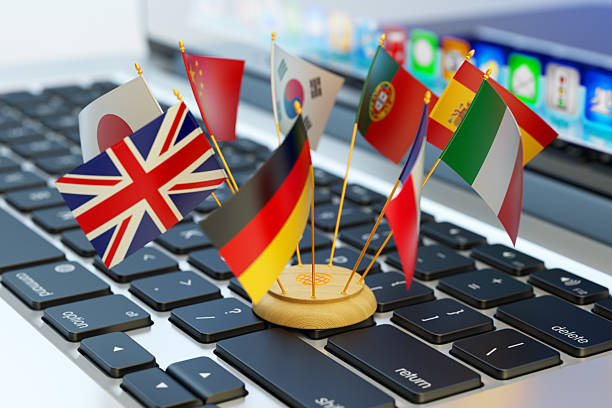 global communication and business concept - translator stock photos and pictures