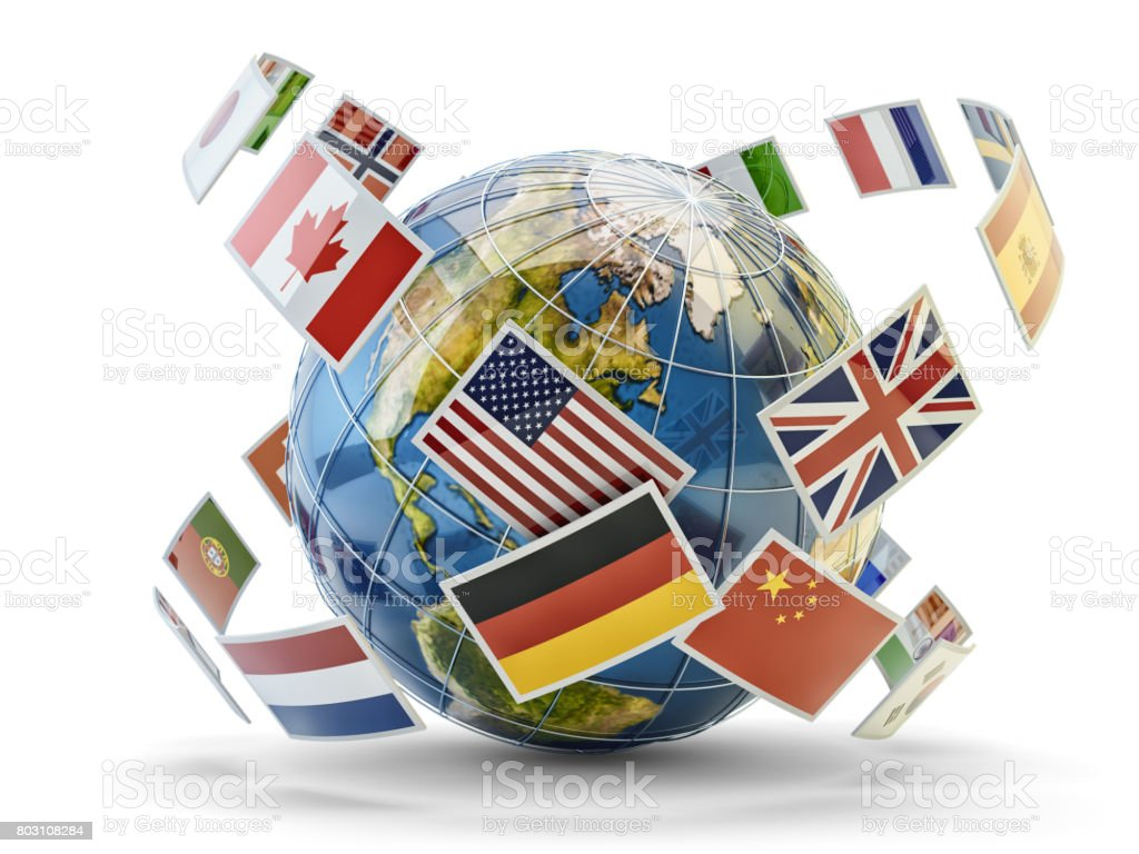 Global communication and international messaging concept - foto stock