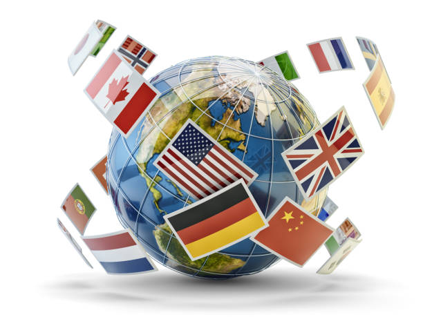 Global communication and international messaging concept stock photo